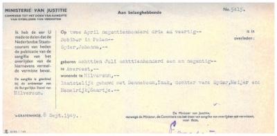Sobibor Death Certificate