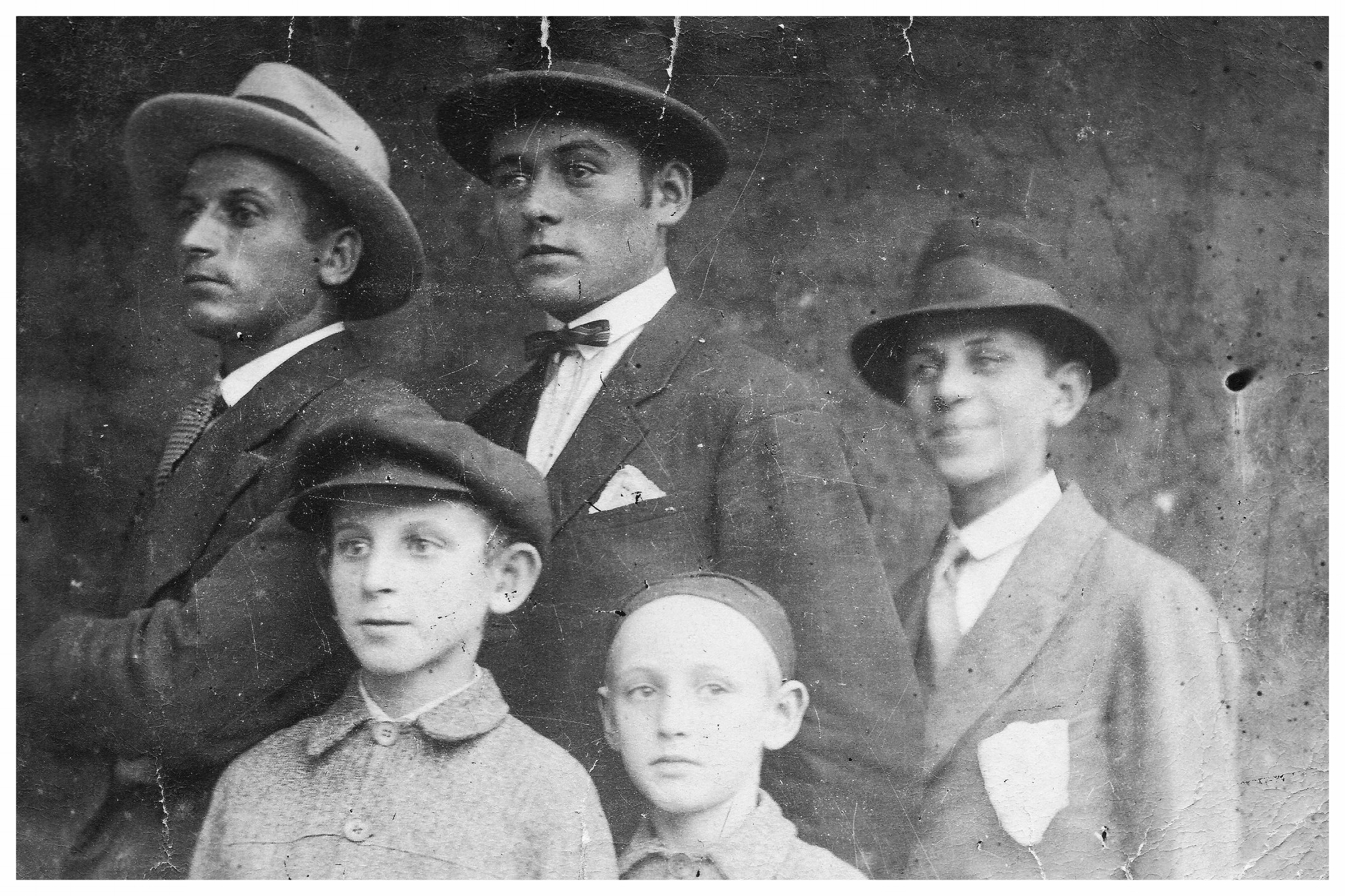 Kovary Brothers c. 1928: David, Betzalel, Andor (with pocket hanky), Theodore. Alfred