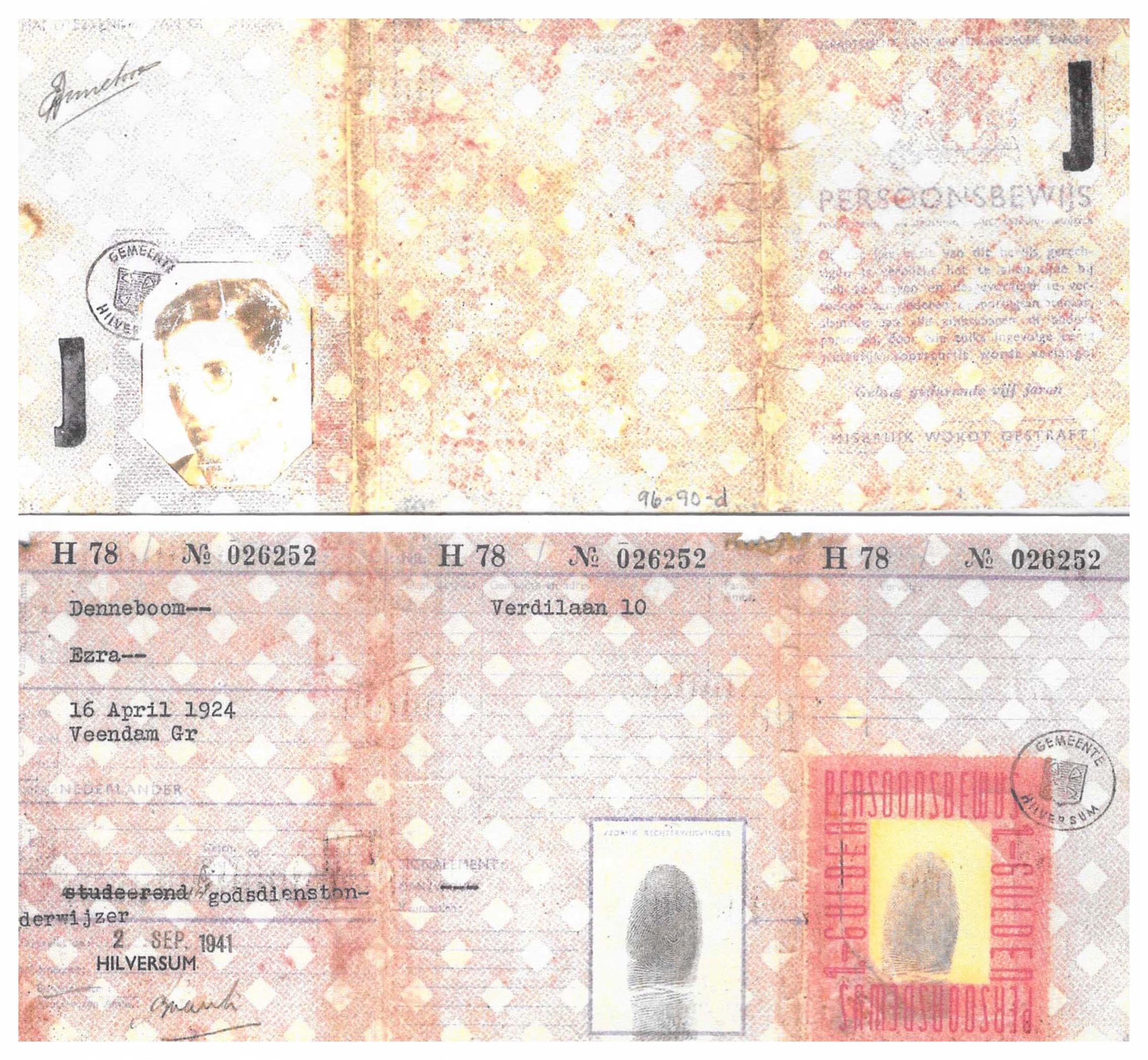 Ezra's Identification card stamped 'J'