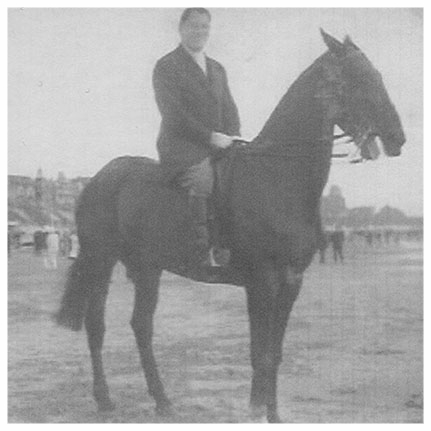 Oscar Perlberger on horseback at Zandvoort beach - 1937