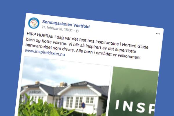 Hyggelig hilsen fra Søndagsskolen Vestfold på facebook