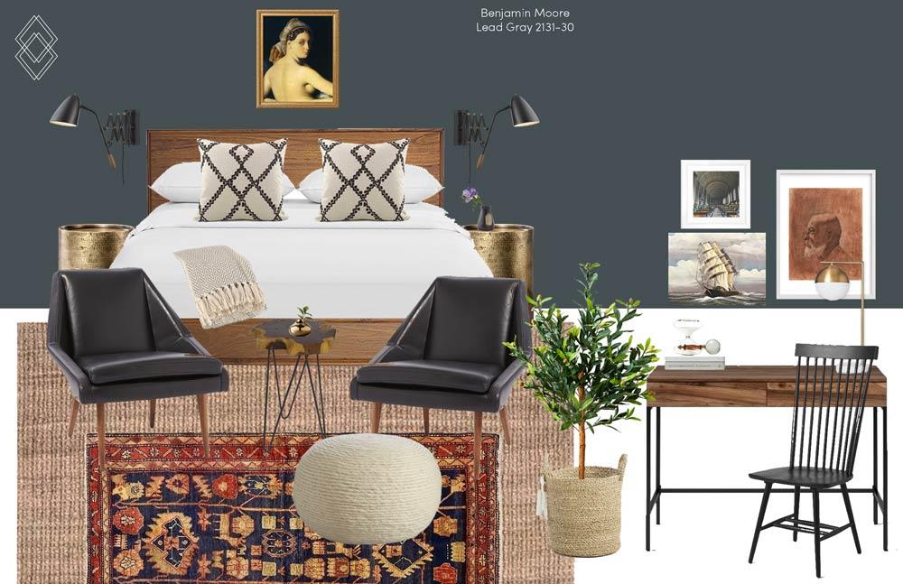 Vintage Eclectic Bedroom design // Jordan Interiors // Online Interior Design