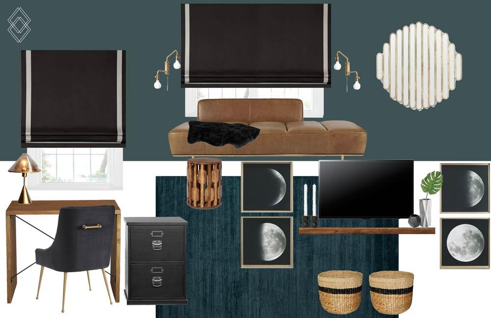 Modern Eclectic Home Office Design // Jordan Interiors // Online Interior Design