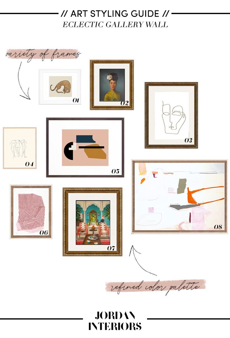 Eclectic Art Gallery Wall Ideas // Jordan Interiors