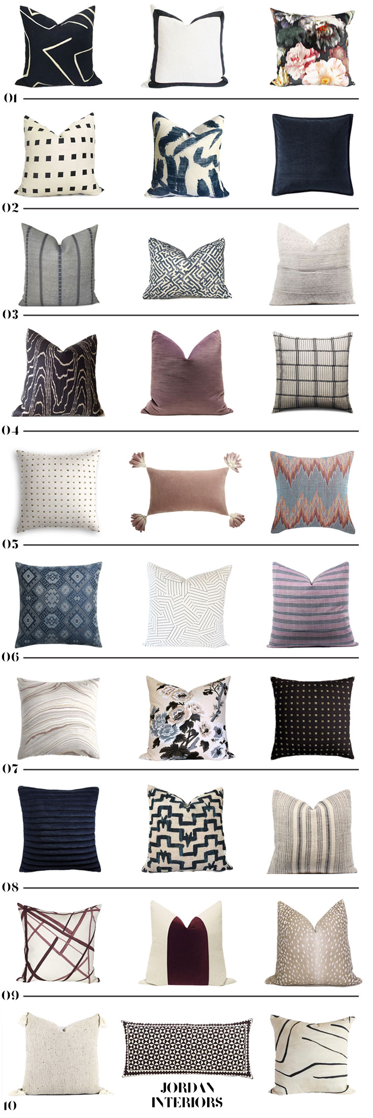 10 Stylish Modern Eclectic Pillow Combos // Jordan Interiors