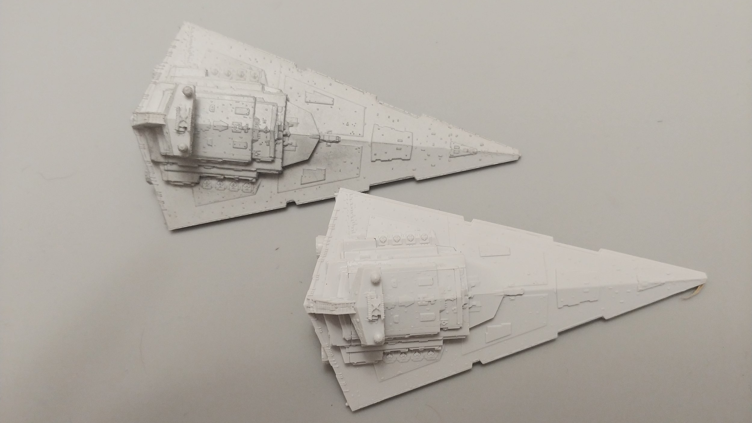 Above you can see my older painted Star Destroyer on top and the freshly constructed unpainted one on the bottom. The plan is to repaint the top one while I'm painting the bottom one.