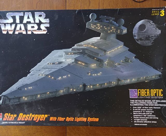 I found this old AMT Star Destroyer kit at my parents house. I started it many, many years ago and didn't get very far. I brought it back with me to complete and add to my growing Star Destroyer collection. #amt #starwars #stardestroyer #plasticmodels #scifi #returnofthejedi