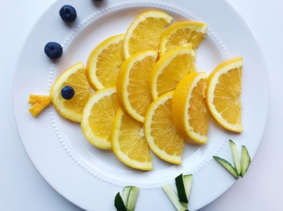 What you need: Oranges, blueberries, zucchini