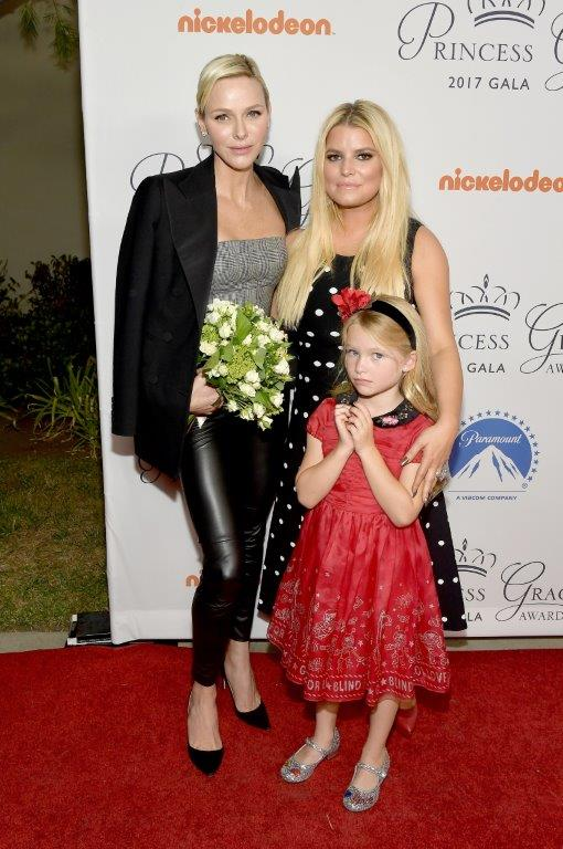 HSH Princess Charlene of Monaco, Jessica Simpson and daughter Maxwell Johnson attend the 2017 Princess Grace Awards Gala Kick Off Event.jpg