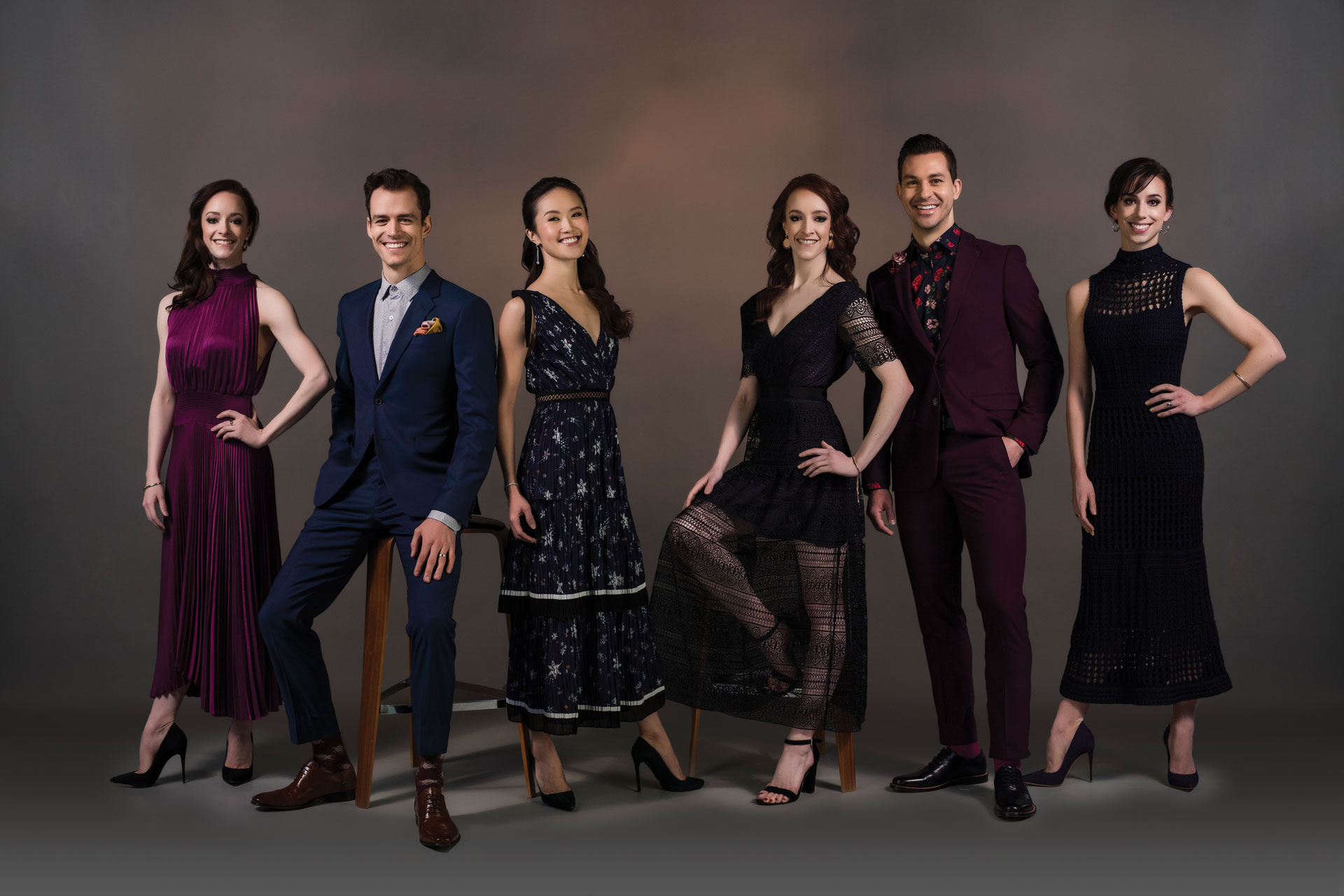 Alberta Ballet Dancers (from left to right) Alexandra Gibson, Garrett Groat, Mariko Kondo, Jennifer Gibson, Kelley McKinlay, Reilley McKinlay
