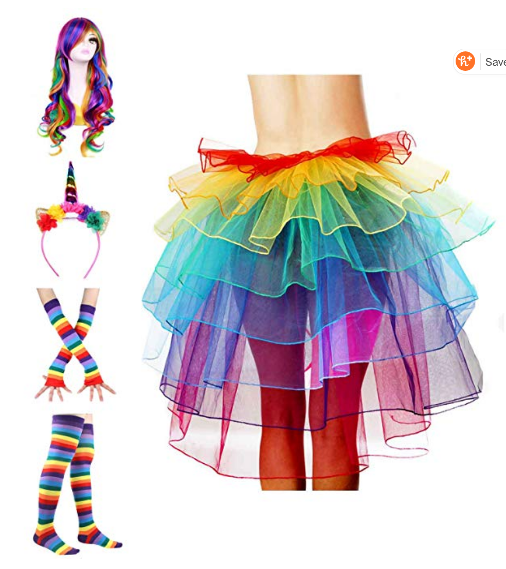 Rainbow wig tutu and more. $38