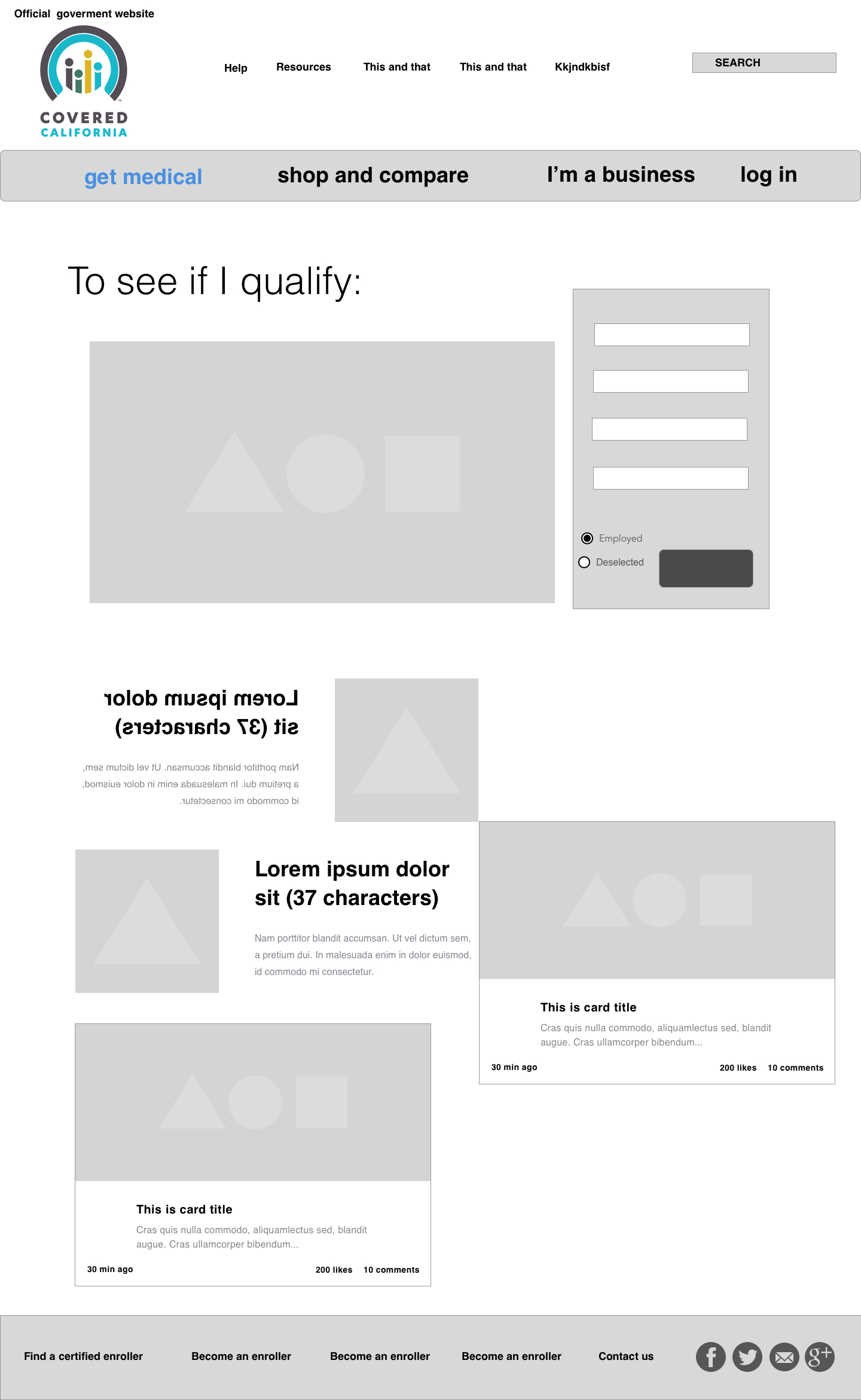Home wireframe.