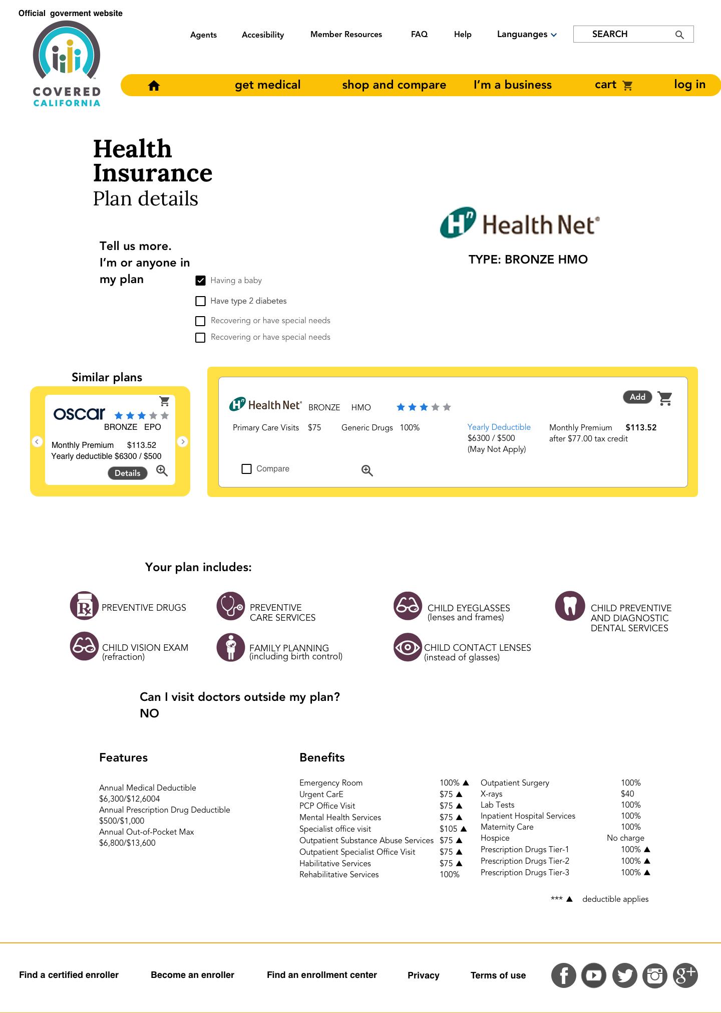 Health Plan details