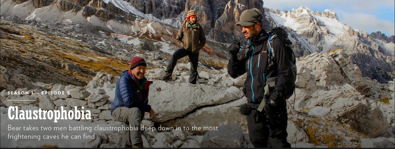 Nick O'Meally *far right* filming 'Bear Grylls: Breaking Point' in the Dolomites in Italy in 2017.