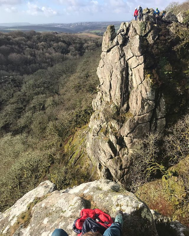 Shooting our commercial for @discoveryadventures on an amazing slab of rock in Devon. @dannyeth on ropes, @fiftheye in the air and @secret.compass watching our backs