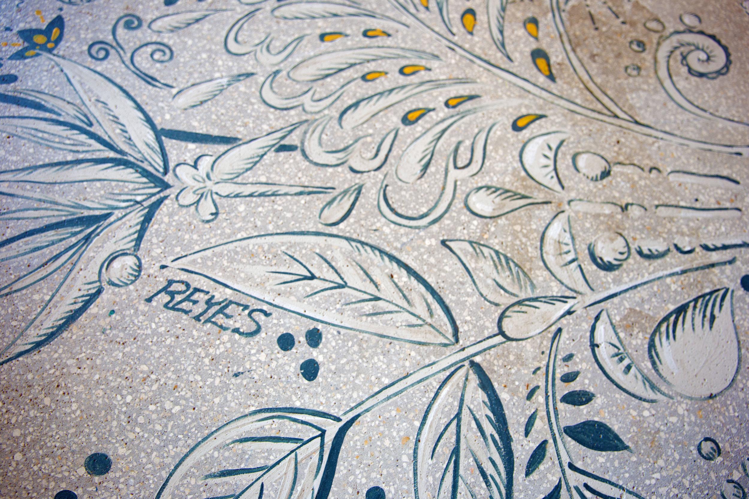 Reyes Mezcaleria hand painted floors