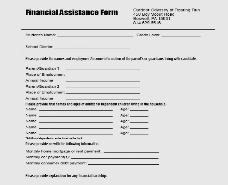 financial assistance form -