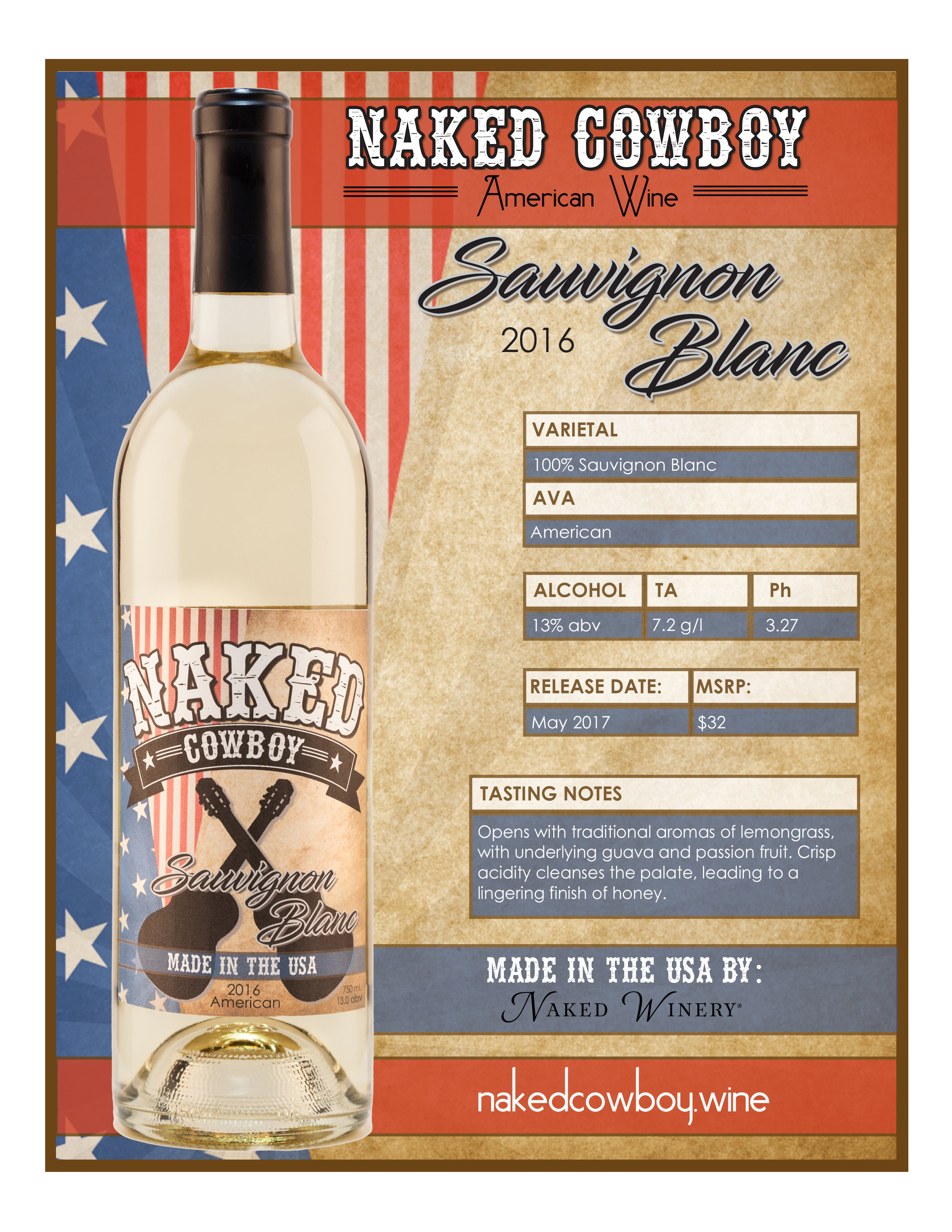 naked cowboy Sauvignon Blanc   - Fact Sheet