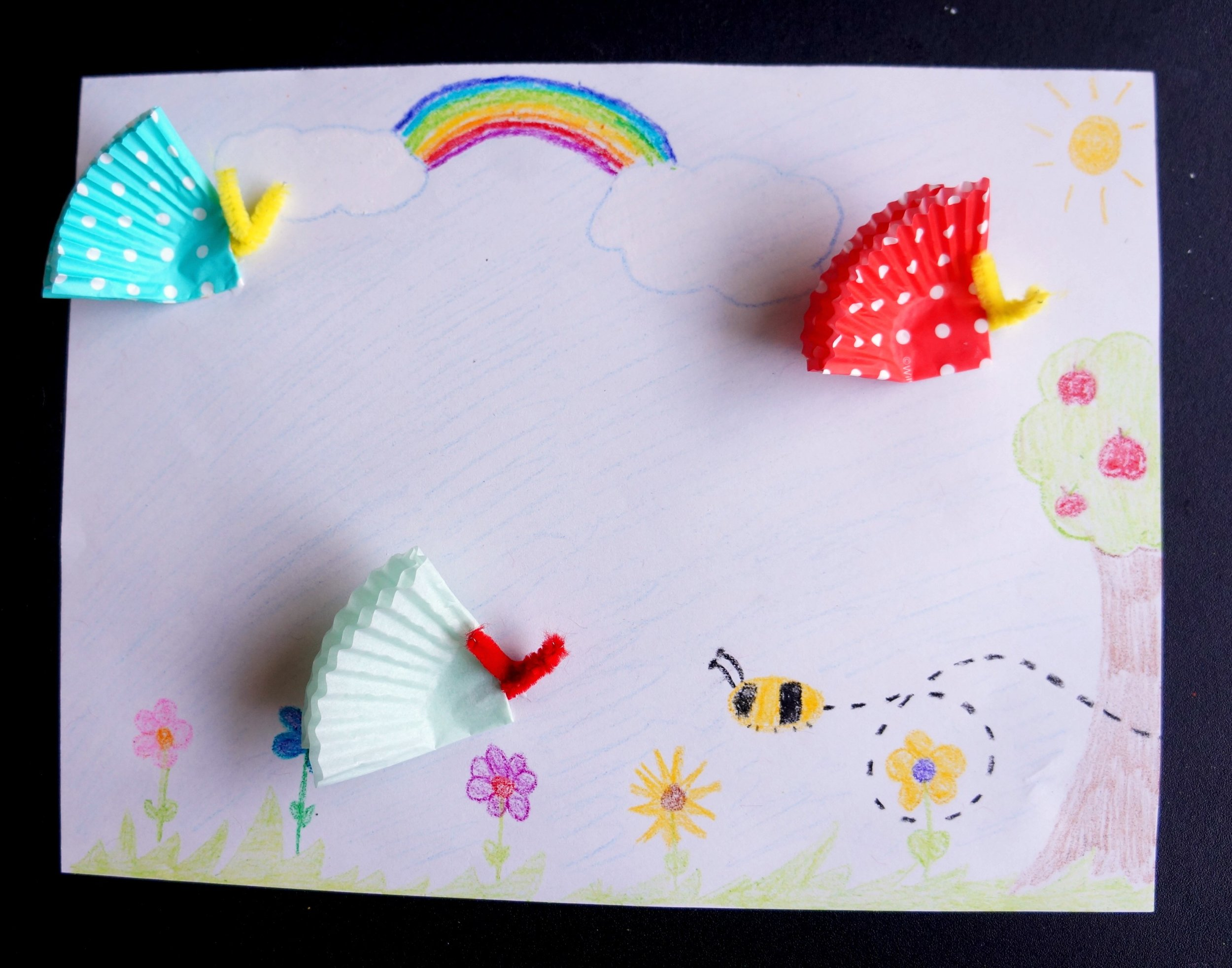 Cupcake Liner Butterfly Scenes, Cupcake liner butterflies, DIY butterflies, Butterflies with cupcake liners: garden butterflies , Cupcake liner craft, All About Hope projects