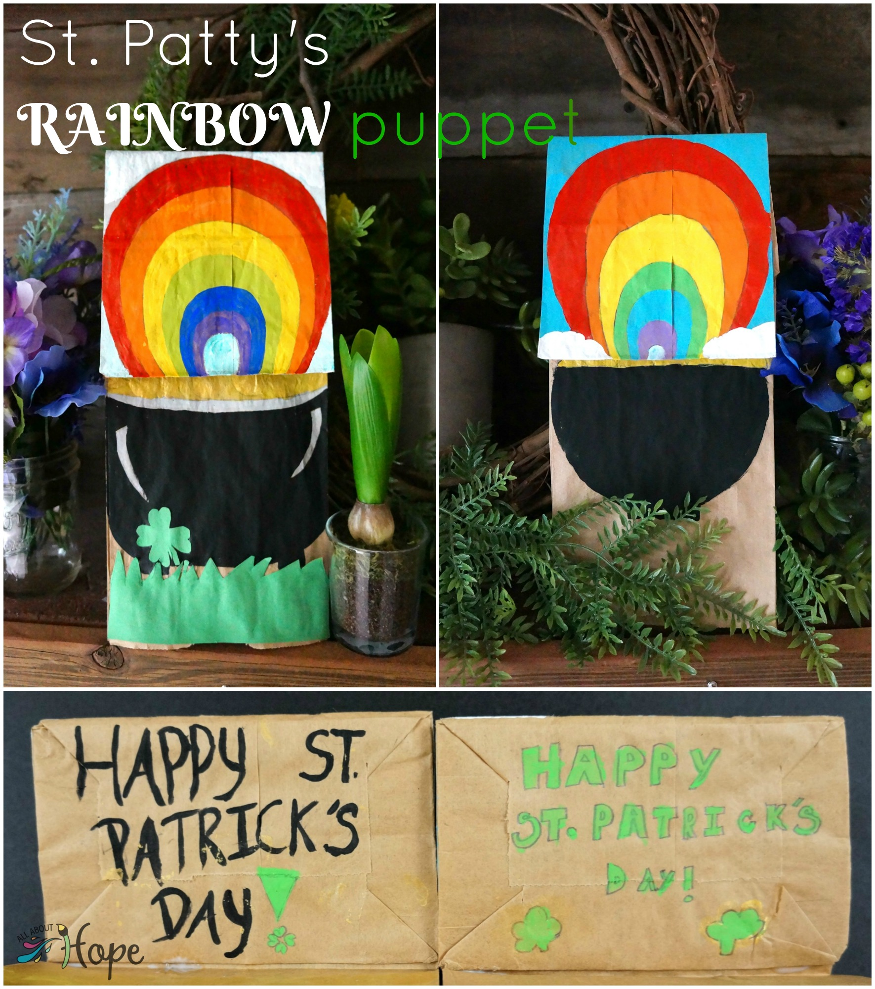 St. Patty's Rainbow puppet, St. Patty's craft, Paper bag craft, lunch bag craft, St. Patrick's puppet, Rainbow craft, Pot of gold craft, DIY puppet, DIY St. Patty's puppet, All About Hope projects