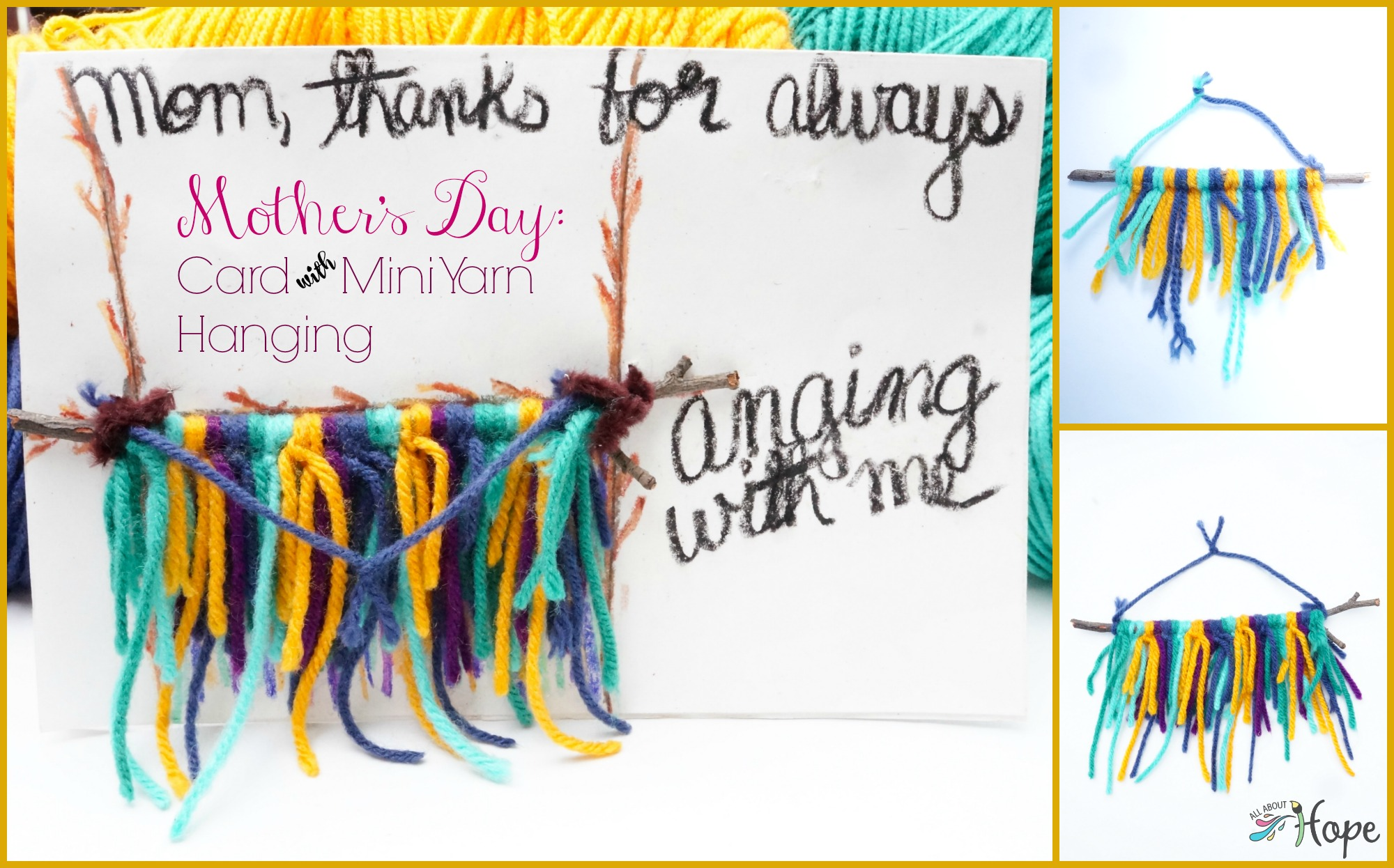Mother's Day Card, Mother's Day craft, Yarn Craft, Yarn Hanging, Kid's Yarn Crafts, Card and Gift, Mom's Day Card, Mom's Day Craft, Twig Craft, Card With Built in Gift,
