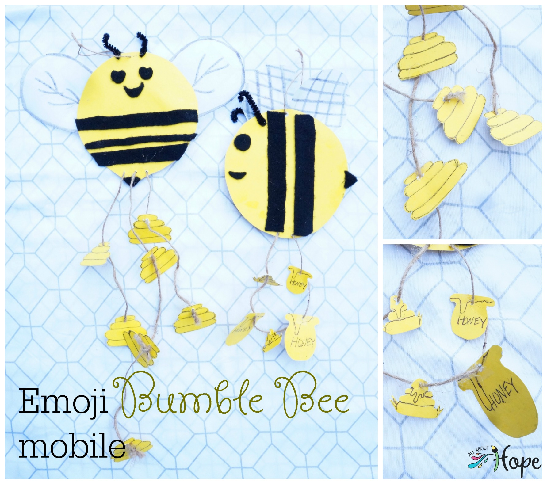 Bumble Bee Craft, DIY mobile, Bumble Bee Mobile, Bee Hive Craft, Emoji Craft, Emoji Mobile,