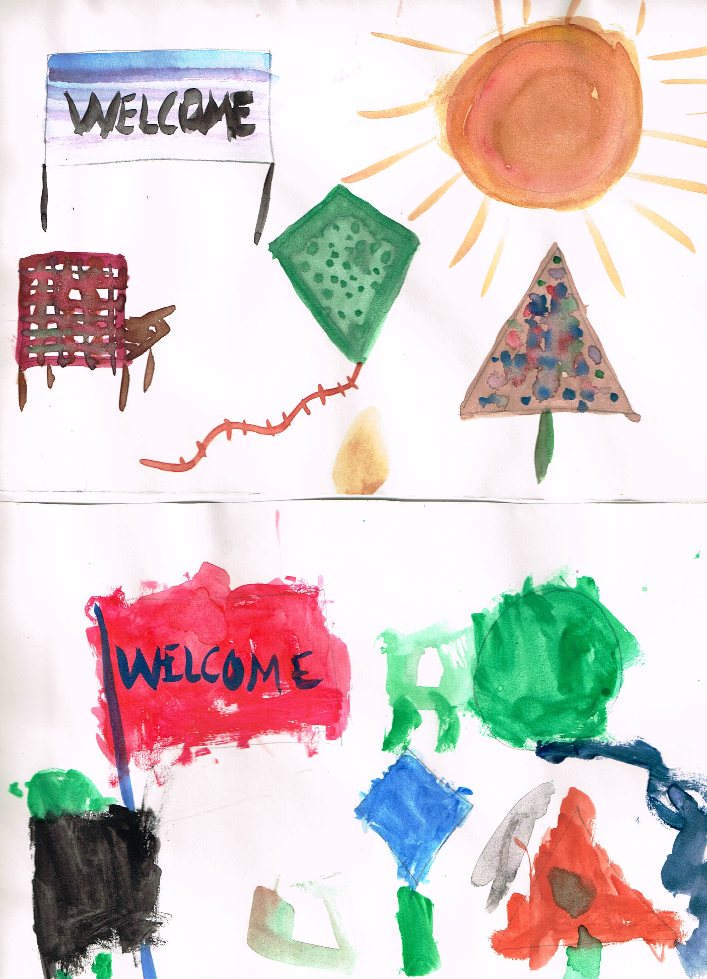 Here was mine and my son's paintings. He did a pretty good job!  Top: Rectangle= Sign, Circle= Sun, Square= Chair, Kite=Kite, Triangle= Christmas tree  Bottom: Rectangle= Flag, Circle= Balloon, Square= Chair, Kite= Sign, Triangle= Tree