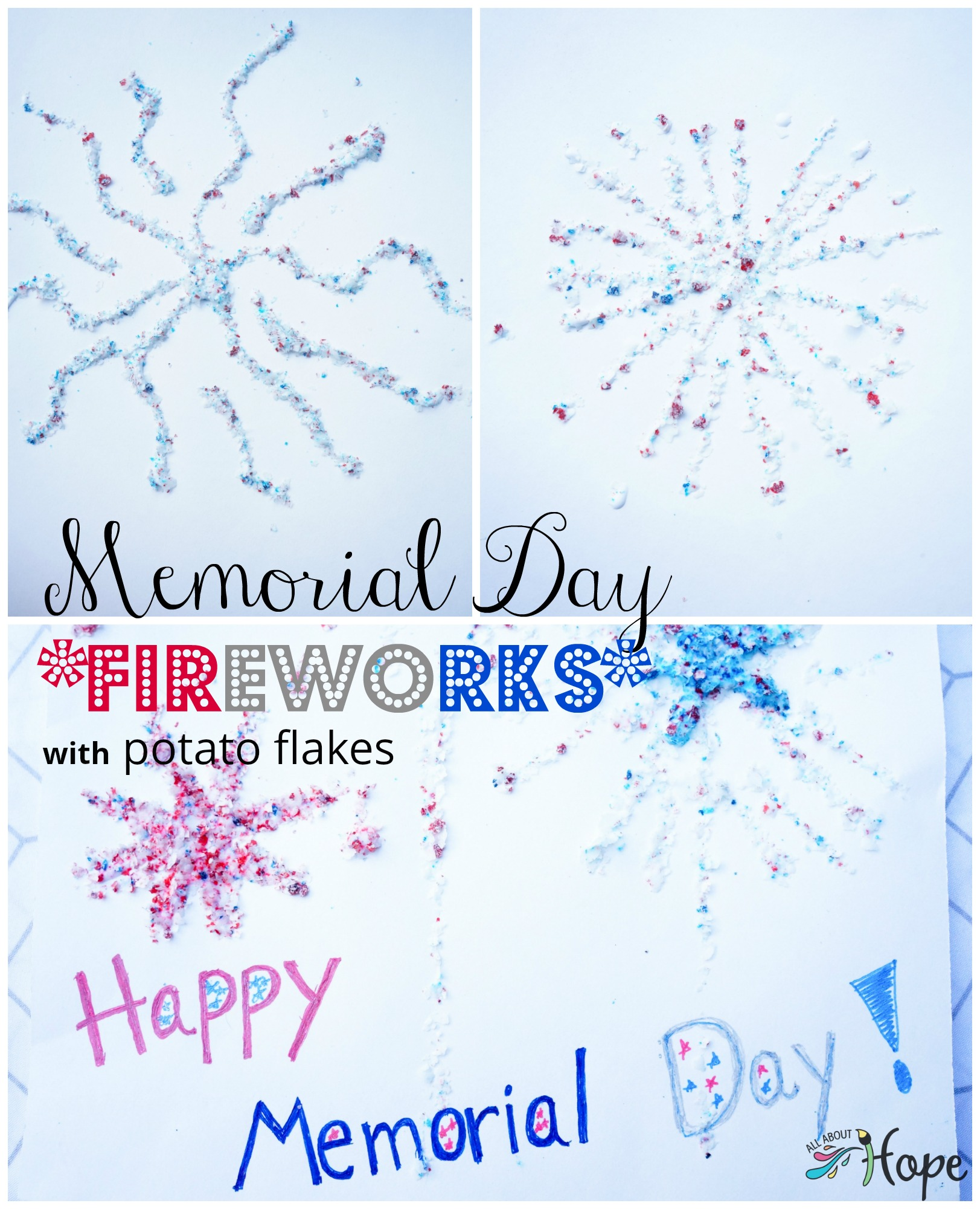 DIY Memorial Day Craft, DIY Memorial Day Fireworks Craft, DIY Patriotic Craft, Red White Blue craft, Potato Flakes Craft, Food Coloring Crafts, Memorial Day Fireworks