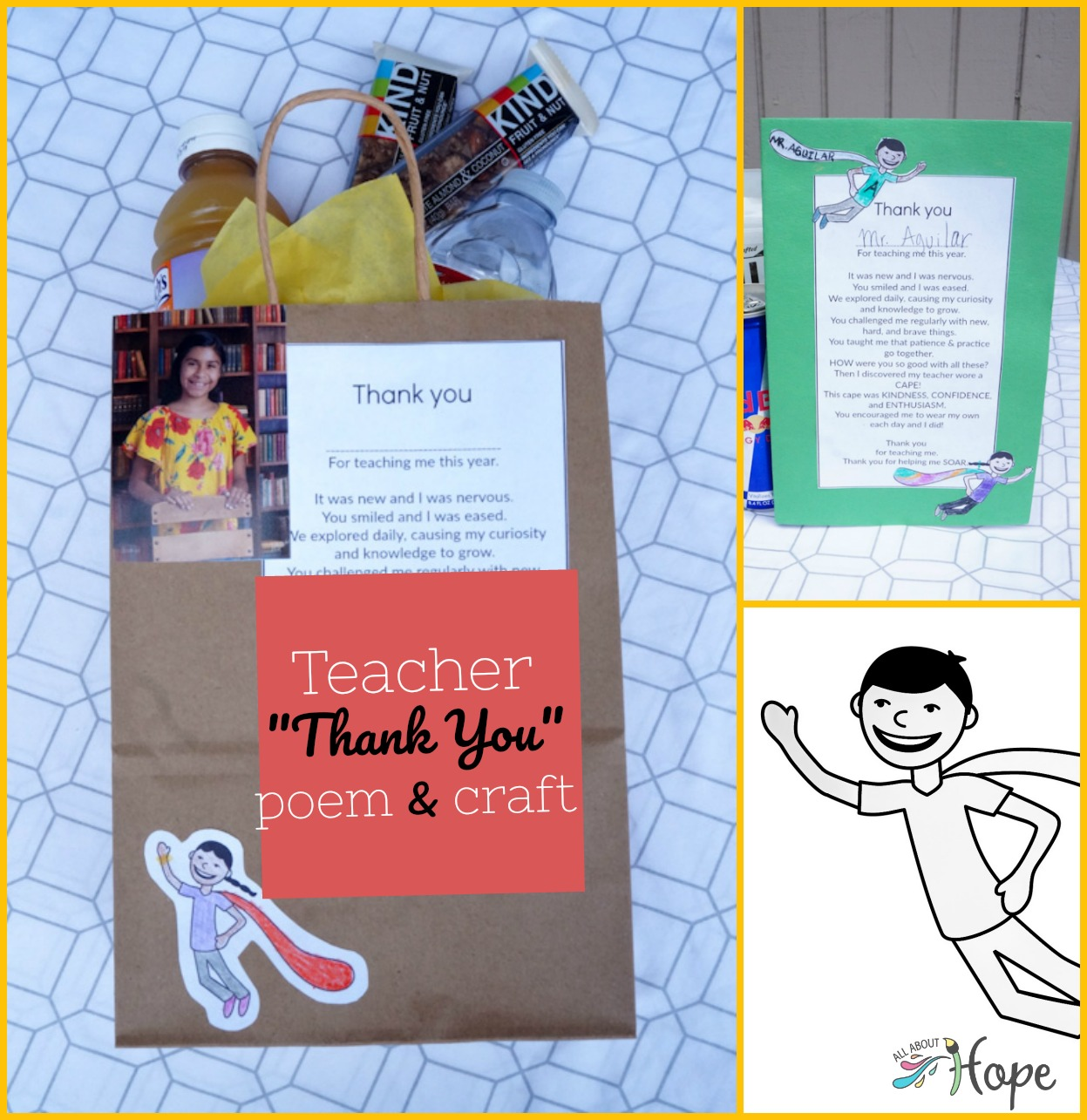 Teacher Craft, Coloring Craft, Teacher Poem, Thank You Poem, Teacher Appreciation Gift, Teacher Appreciation Week, End of Year Teacher Gift