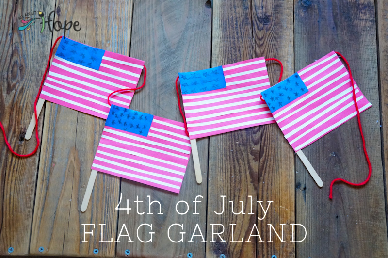Fourth of July Craft, 4th of July Craft, Flag Craft, Flag Garland, Craft Stick Flag, Memorial Day Craft, Memorial Day Garland, Memorial Day Flags