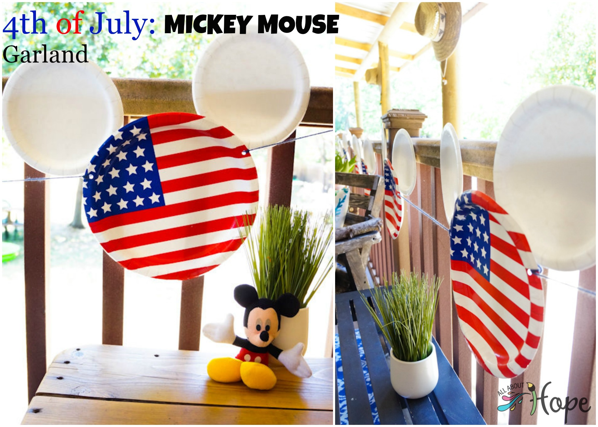 Mickey Garland, Mickey Mouse Garland, 4th of July Garland, DIY Garland, Cheap Decor, Easy 4th of July Decor, Party Plate Decoration,