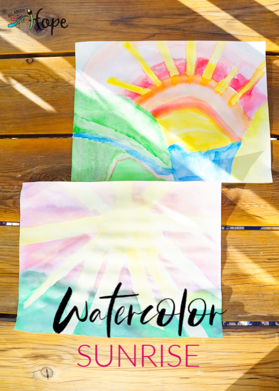 Sunrise Craft, Watercolors, Painting Craft, Craft with Painter's Tape