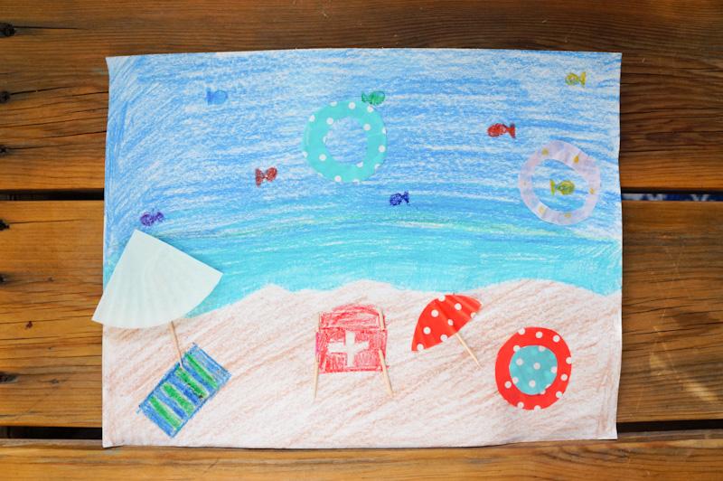 Cupcake Liner Craft, Cupcake Liner Scene, Cupcake Liner Umbrella, Cupcake Liner Beach, Ocean Craft, Beach Craft