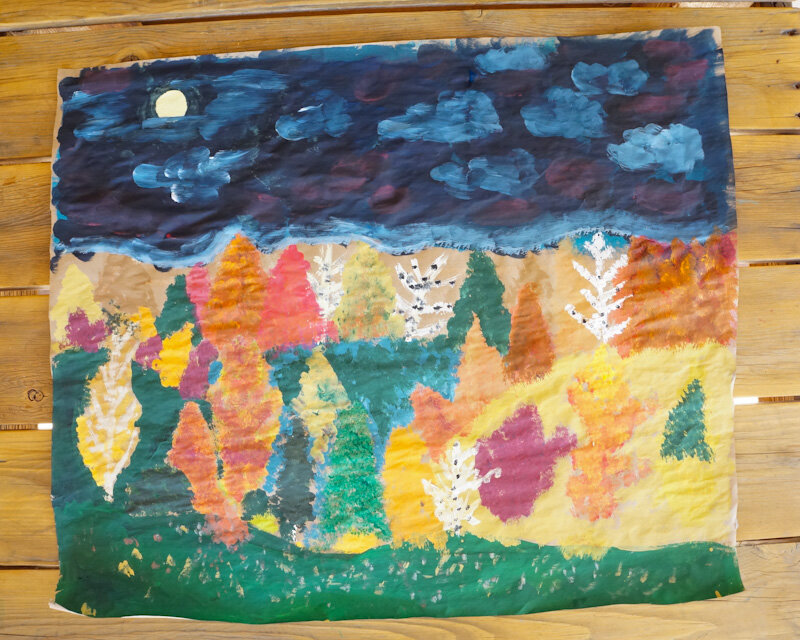 Fall Painting, Craft Paper Painting, DIY Fall Landscape, DIY Night Landscape, Night Landscape Painting, Fall Landscape Painting, Craft Paint Scenery