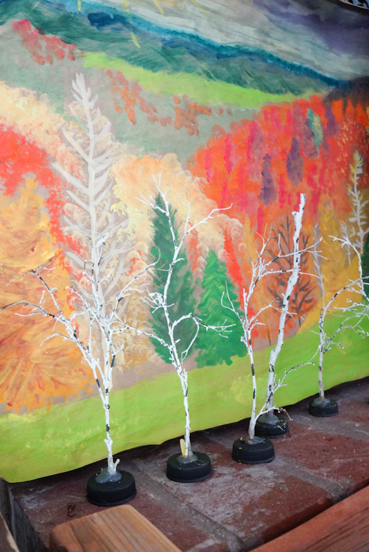 DIY Birch Trees, Mini Birch Trees, Mini Trees, Faux Birch Trees, Recycled Bottle Caps, Recycled Craft, Fall Craft, DIY Model Trees