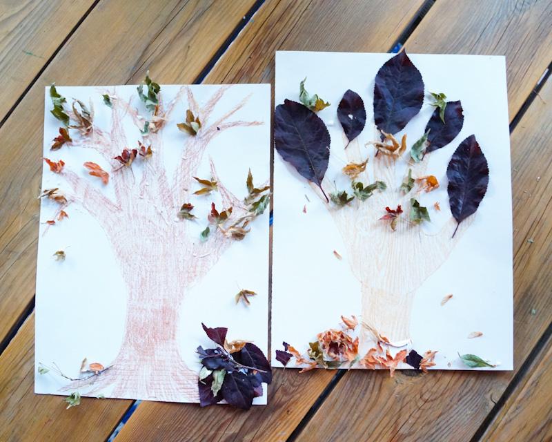 Hand Print Trees, Wood Grain Coloring, Wood Grain Print, Fall Trees, Fall Craft, Fall Coloring Craft