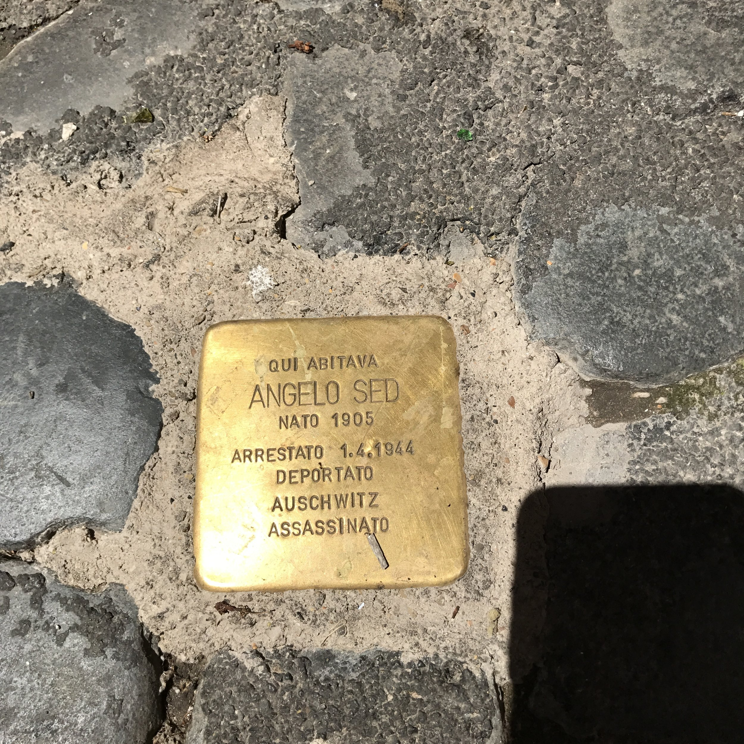 Stolpersteine  (stubling blocks)  commemorate the lives of Holocaust victims. A German artist came up with the idea to place these brass plaques outside of the homes where Jewish people lived freely before being persecuted by the nazis. About 56,000 can be found in 22 European countries.
