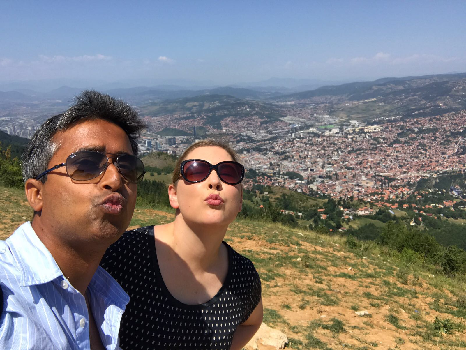 When Instagram accounts collide! I've been following  @wanderingsoul_kapil  for awhile because his photos of Europe are stunning 🙌 When we realised we'd cross paths in Bosnia, we met up. Here's us acting like fools on Trebević Mountain 🤗