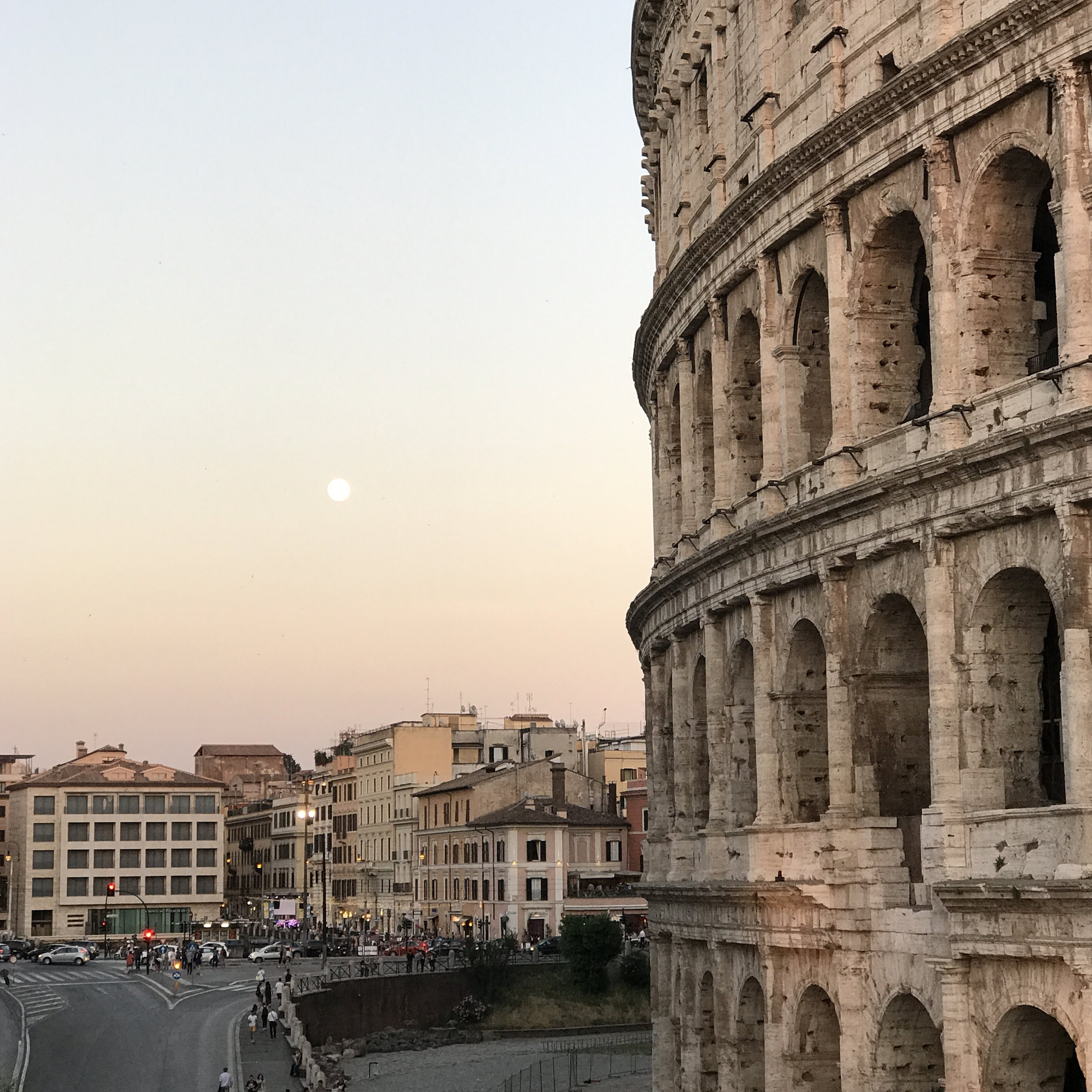 One of my favorite sunset strolls:Roman Colosseum.