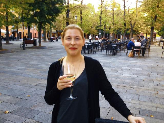 Me drinking wine in Piazza Fontanesi, one of my favorites in Reggio Emilia.