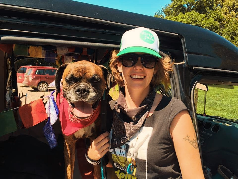 Casey Sheppard and her dog, India, living the van life.
