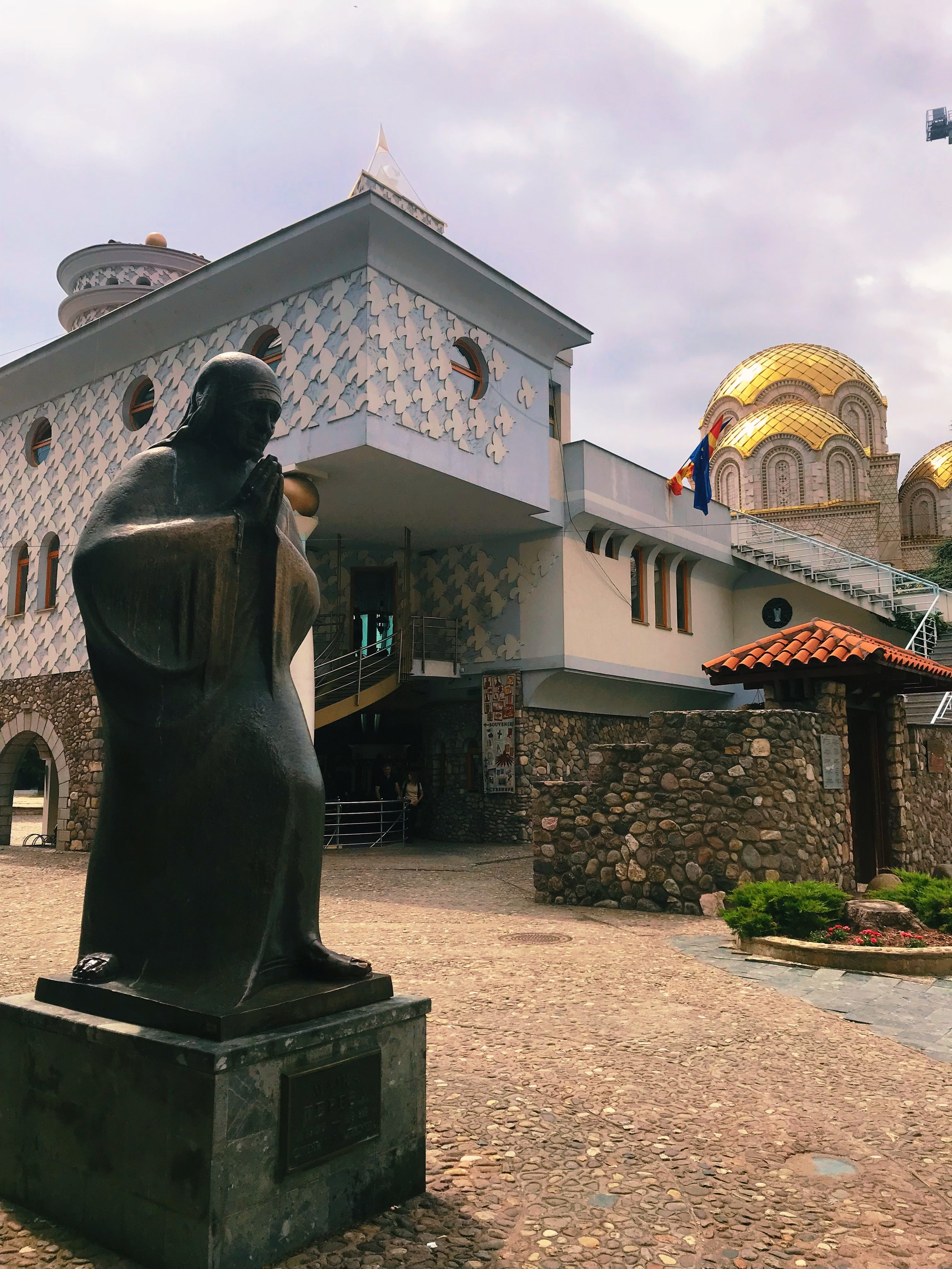 Memorial House of Mother Theresa , who was born in Skopje, Macedonia. Her family home was destroyed in the 1963 earthquake. This museum was built on top of the church in which she was baptized.