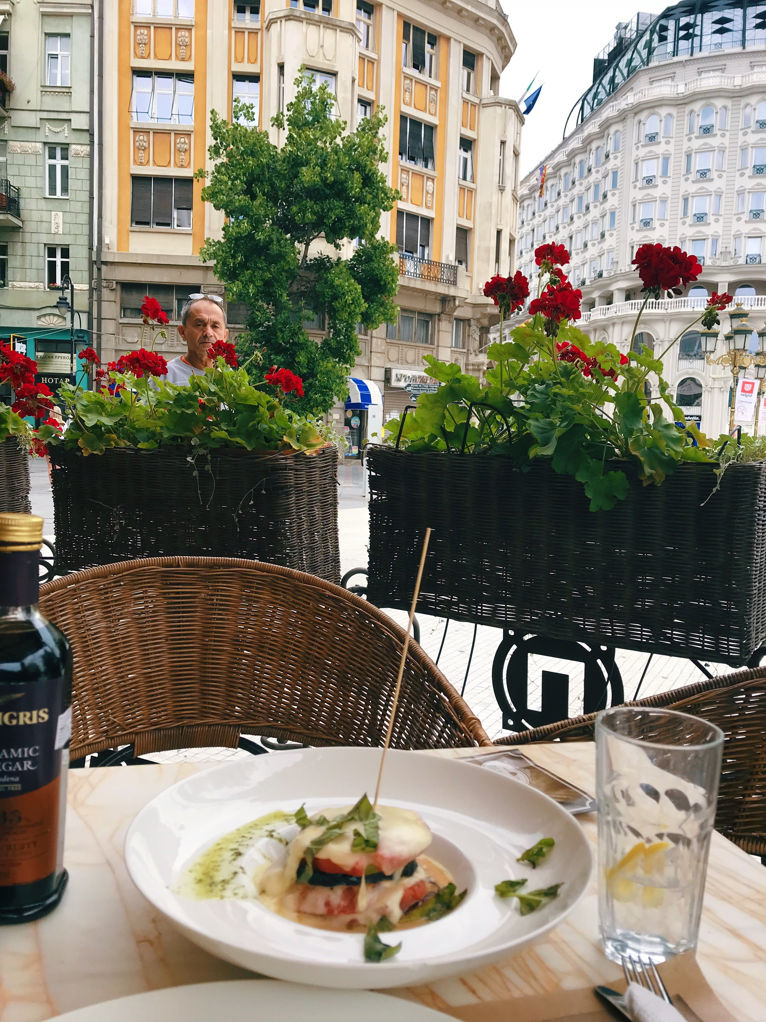 Pelister  in the main square downtown has a massive outdoor seating area where you can enjoy a coffee and take in Alexander in all his glory.