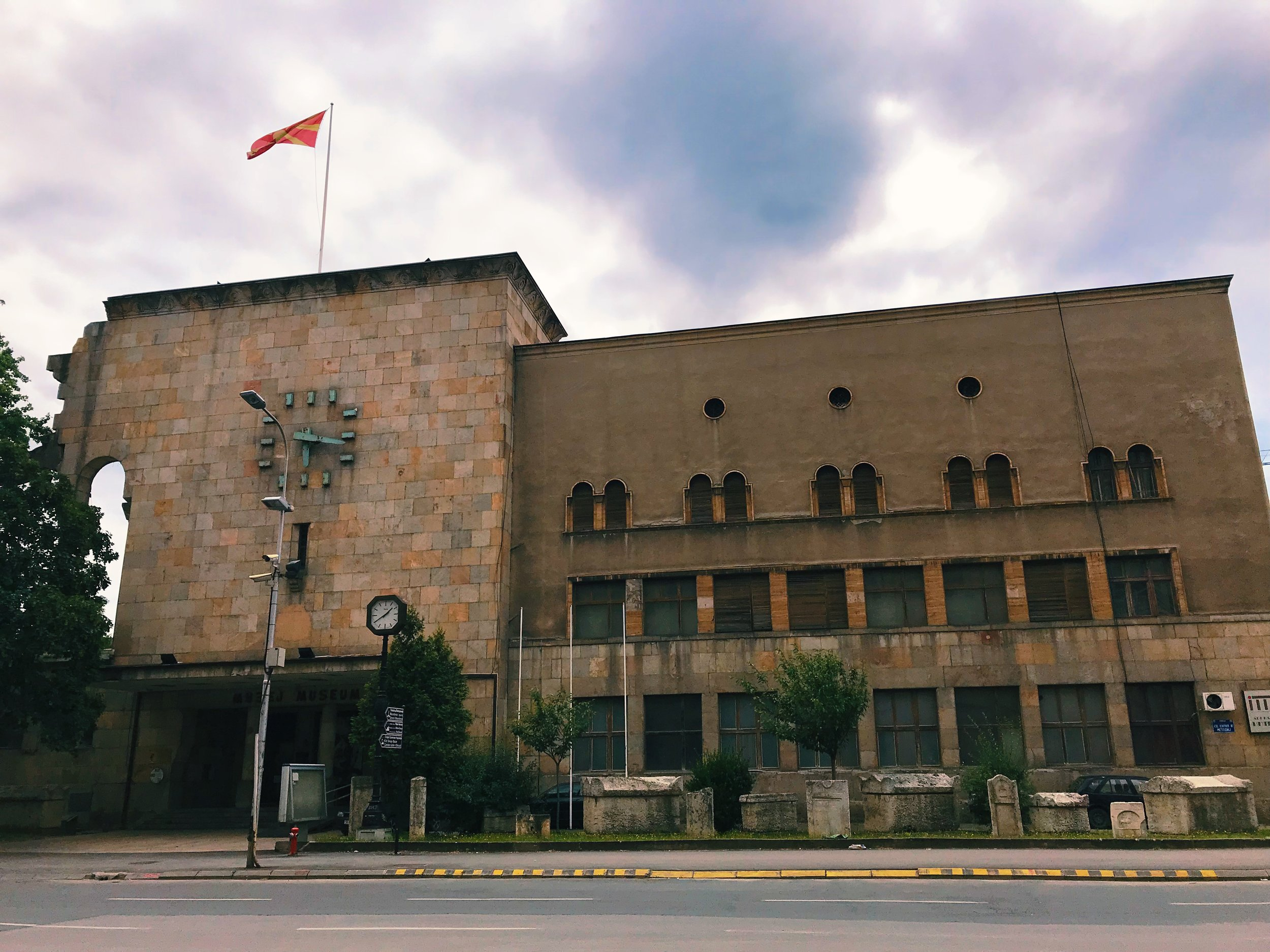 The old train station  is now the Museum of the City of Skopje. It stopped operating as a train station after the 1963 earthquake and its clock forever marks the time when that natural disaster hit.