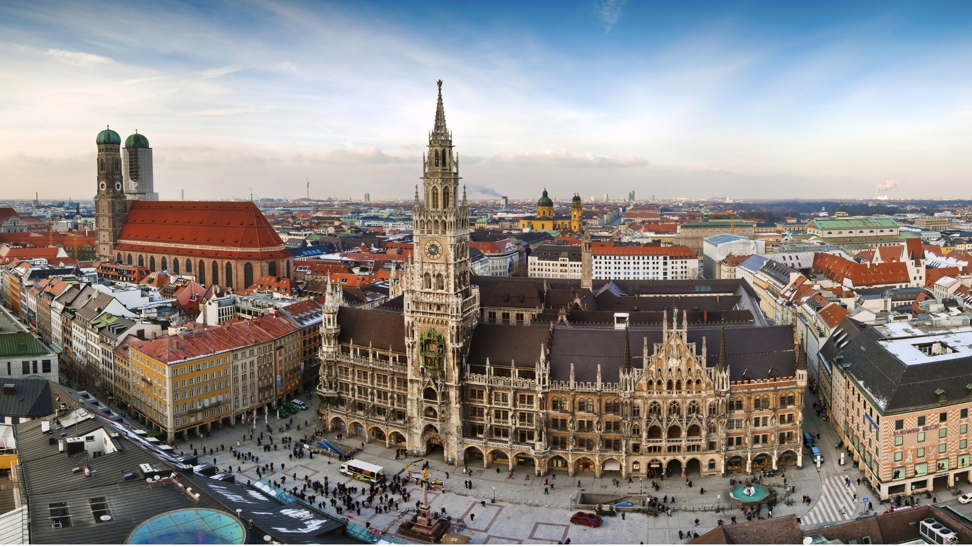 No buildings in Munich can be taller that the  green domes of Frauenkirche  (Cathedral of Our Dear Lady).