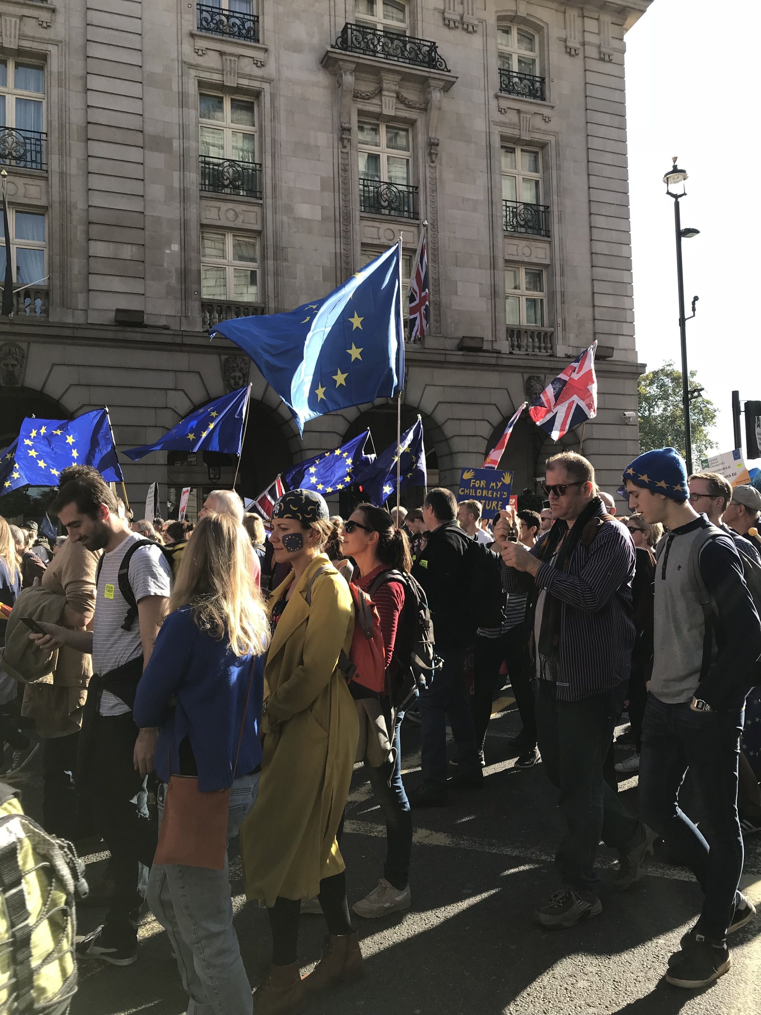 The People's March in London, October 20, 2018. They're demanding a revote on Brexit and believe remaining in the E.U. is best for the country.