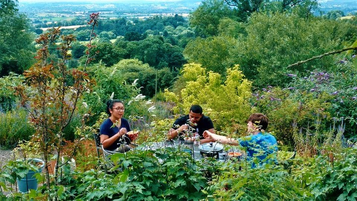 Picnicking with friends in Shropshire.
