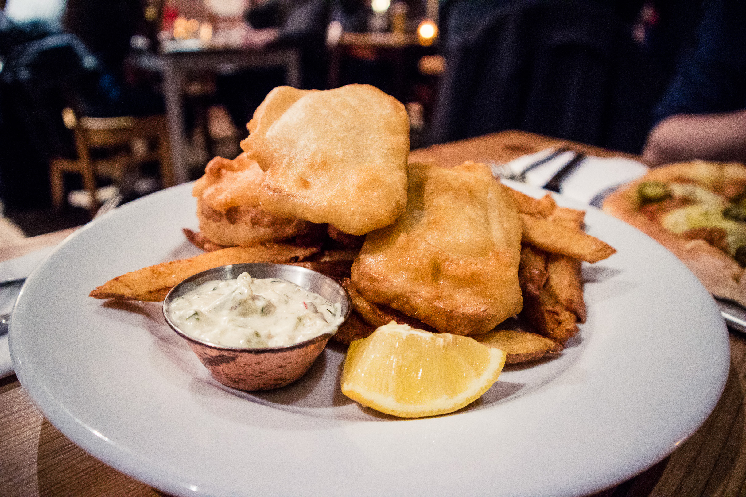 Vegan tofu fish & chips at Mono in Glasgow.