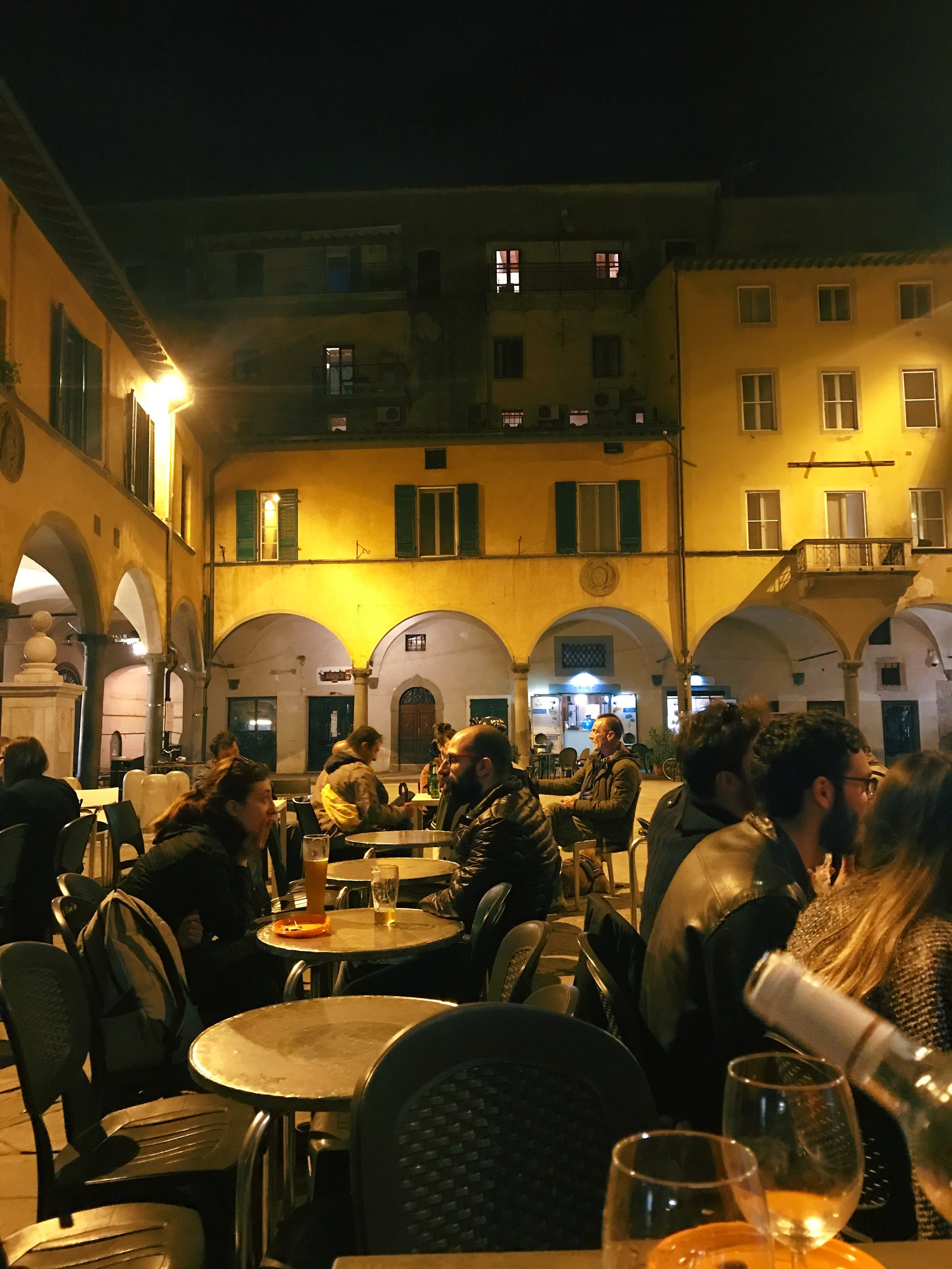 The Violin  . Come here in the evening for a delicious and cheap aperitivo. For 5 euro, you can get a bottle of wine and plate of food. Located in Piazza delle Vettovaglie.