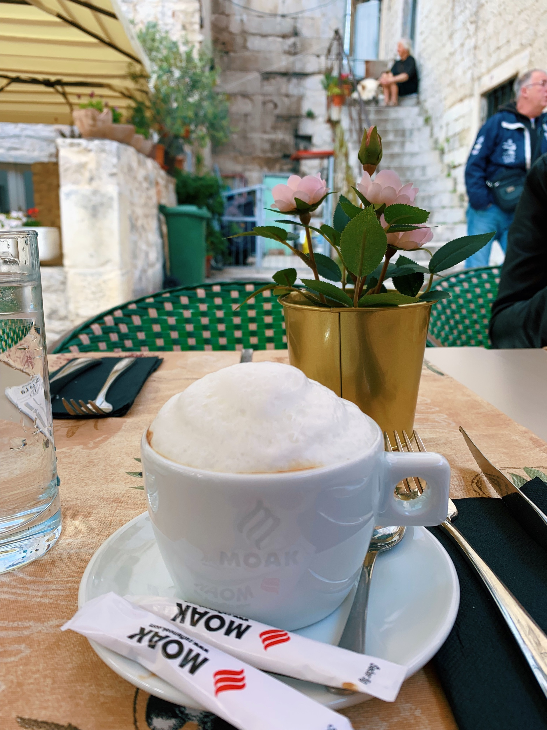 A cheeky little cappuccino to energize us for our Split walking tour.